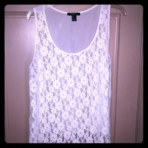 White lace and sheer tank